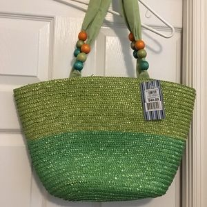 Straw bag canvas lined